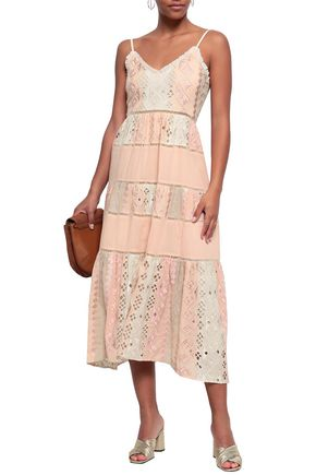 LOVE SAM Lattice-trimmed embroidered cotton-gauze midi dress