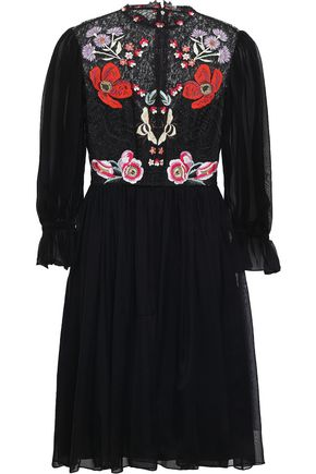 TEMPERLEY LONDON Aura embroidered lace and silk-blend chiffon mini dress