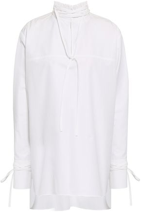 DEREK LAM Cutout cotton-poplin turtleneck tunic