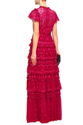 NEEDLE & THREAD Darcy tiered embroidered tulle gown