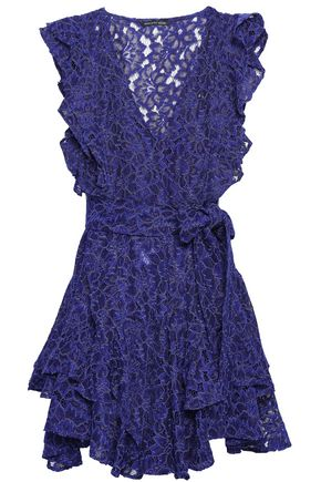 MARISSA WEBB Corrine belted ruffled corded lace mini dress
