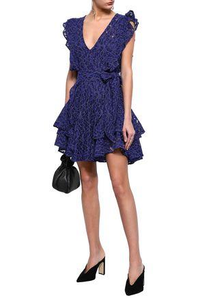 MARISSA WEBB Corrine belted ruffled corded lace mini dress