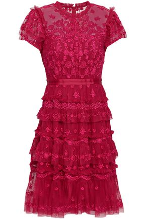 NEEDLE & THREAD Darcy embroidered tulle mini dress