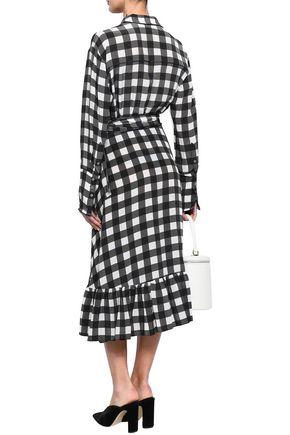 MARISSA WEBB Belted ruffled gingham silk-crepe midi dress
