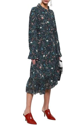 MARISSA WEBB Scarlet belted ruffled printed silk-crepe midi dress