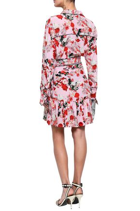 MARISSA WEBB Belted ruffled floral-print silk-crepe mini dress