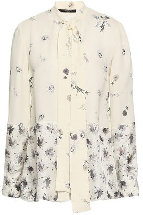 DEREK LAM Printed silk-crepe blouse