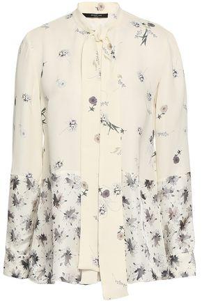 DEREK LAM Tie-neck floral-print satin-paneled silk-crepe blouse