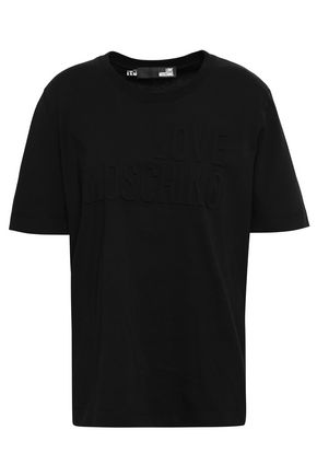 LOVE MOSCHINO Embossed cotton-jersey T-shirt