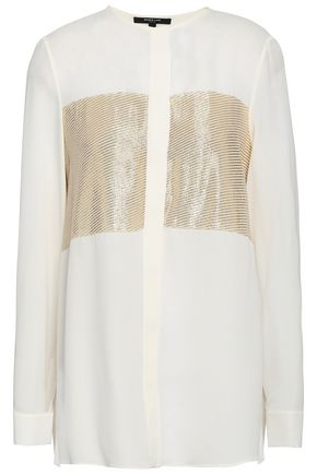 Metallic Fil Coupé Silk Blend Blouse by Derek Lam