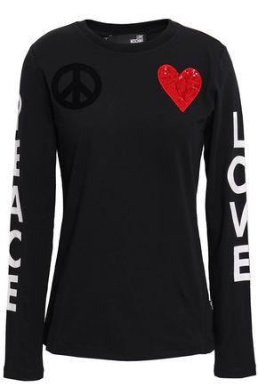 LOVE MOSCHINO Appliquéd printed stretch-cotton jersey top