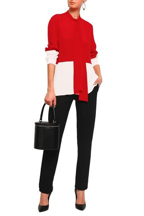 DEREK LAM Two-tone silk-crepe blouse