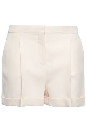 VALENTINO Pleated wool and silk-blend shorts