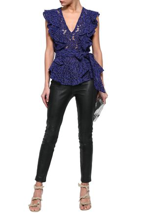 MARISSA WEBB Corrine belted ruffled corded lace top