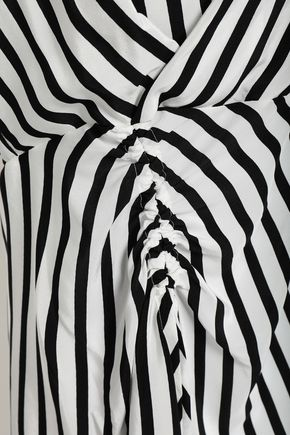 DEREK LAM Ruched striped silk crepe de chine top