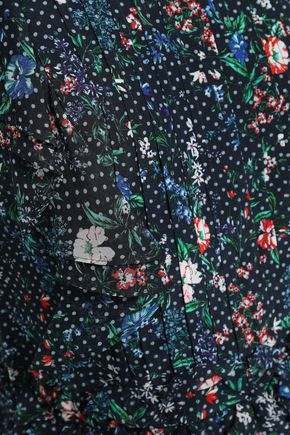 MARISSA WEBB Ruffled printed silk-crepe top