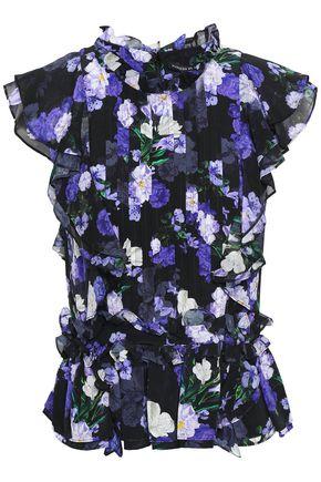 MARISSA WEBB Ruffled floral-print silk-crepe top