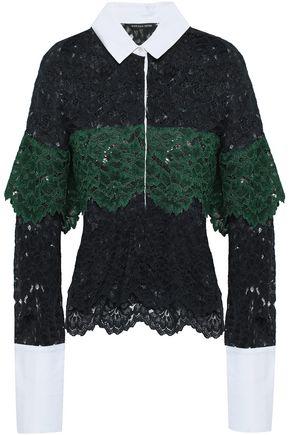 MARISSA WEBB Justine piqué-paneled corded lace shirt