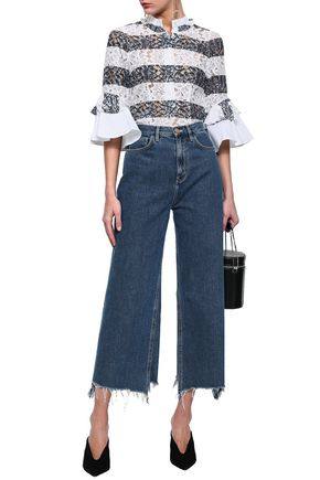 MARISSA WEBB Trenton piqué-paneled corded lace blouse