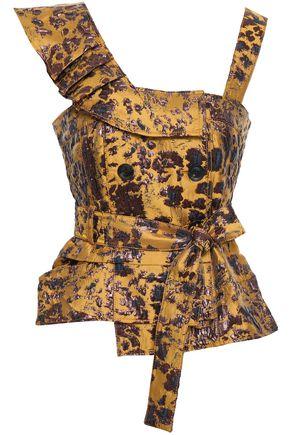 MARISSA WEBB Belted ruffled brocade top