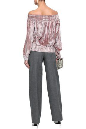 MARISSA WEBB Off-the-shoulder crinkled-velvet top