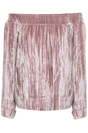 MARISSA WEBB Off-the-shoulder crinkled-velvet top