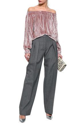 ccad96528655ba MARISSA WEBB Off-the-shoulder crinkled-velvet top