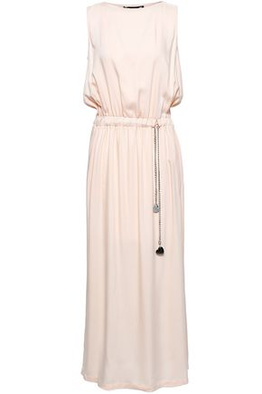 LOVE MOSCHINO Gathered chain-trimmed twill maxi dress