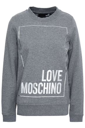 LOVE MOSCHINO Metallic printed French stretch-cotton terry sweatshirt