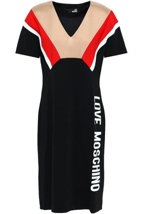LOVE MOSCHINO Printed crepe mini dress