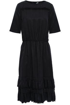 LOVE MOSCHINO Fringed tiered twill midi dress