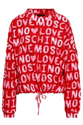 LOVE MOSCHINO Printed French cotton-blend terry sweatshirt