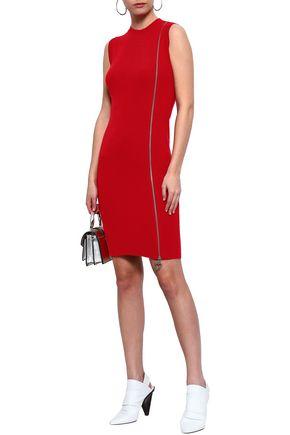 LOVE MOSCHINO Zip-detailed wool-blend mini dress
