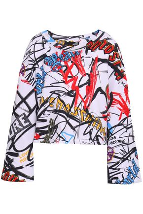 LOVE MOSCHINO Cropped printed French cotton-terry sweatshirt