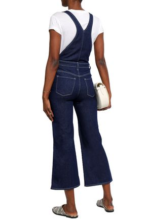 J BRAND Cropped stretch-denim flared overalls