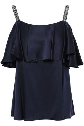TEMPERLEY LONDON Lantern embellished ruffled silk-charmeuse top