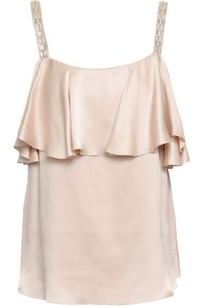 TEMPERLEY LONDON Ruffled embellished silk-charmeuse top