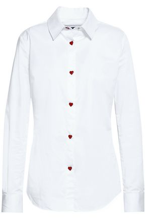 LOVE MOSCHINO Button-detailed stretch-cotton poplin shirt
