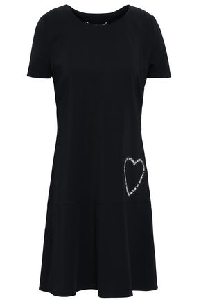 LOVE MOSCHINO Appliquéd stretch-crepe mini dress