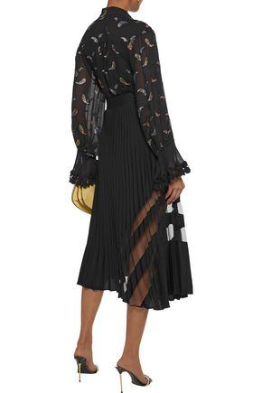 CHLOÉ Guipure lace-trimmed metallic fil coupé georgette blouse