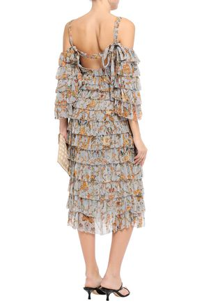 ZIMMERMANN Cold-shoulder tiered printed cutout silk-georgette midi dress