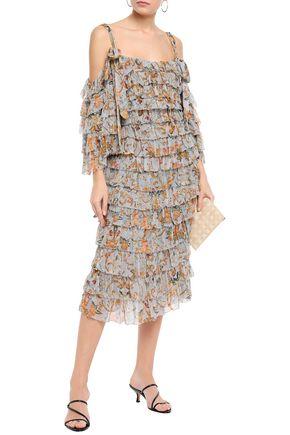 9b854ac9a3ab ZIMMERMANN Cold-shoulder tiered printed cutout silk-georgette midi dress