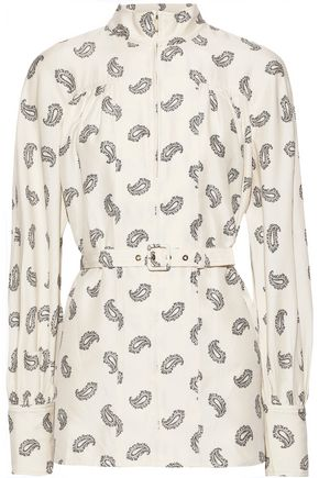 ZIMMERMANN Whitewave belted printed silk-shantung blouse
