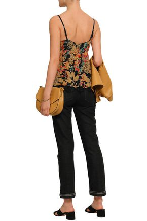 LOVE SAM Chantilly lace-trimmed floral-print georgette camisole