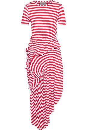 PREEN LINE Alba asymmetric ruched striped stretch-jersey midi dress