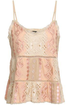 LOVE SAM Lattice-trimmed embroidered cotton-gauze camisole