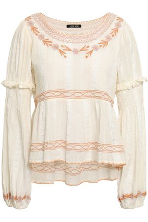 LOVE SAM Embroidered cotton-jacquard blouse