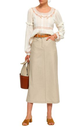 LOVE SAM Embroidered cotton-jacquard blouse
