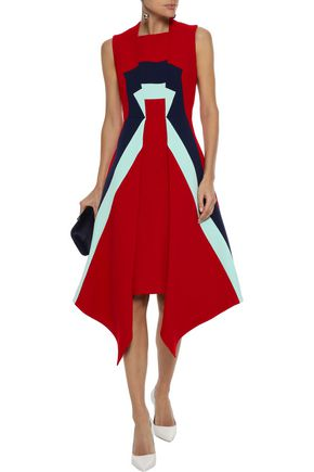 DELPOZO Asymmetric color-block wool-crepe dress