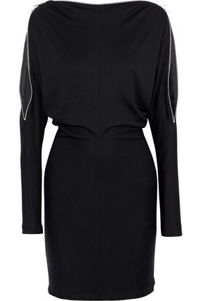 ALEXANDER WANG Zip-detailed wool-jersey mini dress